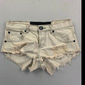 One Teaspoon Women's Beige Jean Shorts Size 26